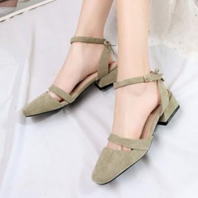 ヒルズスタイル hills style パンプス ヒール アンクルストラップ シューズ 靴 (グリーン)