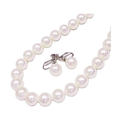 真珠ネックレス 花珠貝パールネックレスイヤリングセット/ホワイトカラー10ミリ45センチイヤリング日本製ギフトラッピング済み