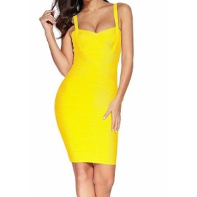 Meilun  ファッション ドレス Meilun Womens Yellow Size XL Square Back Bandage Pencil Sheath Dress