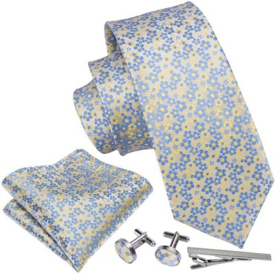 ネクタイ チーフ タイピン カフス 4点 セット メンズ 幅 レギュラータイ 小柄 花柄  (メール便 送料無料)