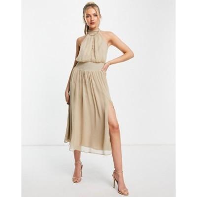 エイソス レディース ワンピース トップス ASOS DESIGN high neck soft midi dress with shirred waist detail in stone