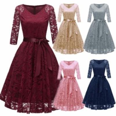 パーティードレス 結婚式 二次会 お呼ばれ ワンピース 七分袖 お呼ばれドレス ドレス 20代 30代 40代 大きいサイズウエストリボン