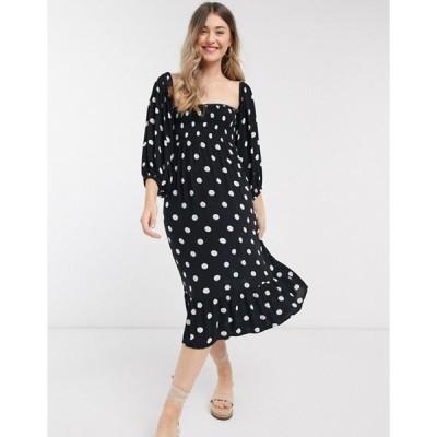 アクセサライズ レディース ワンピース トップス Accessorize Puff Sleeve midi polka dot  dress in black