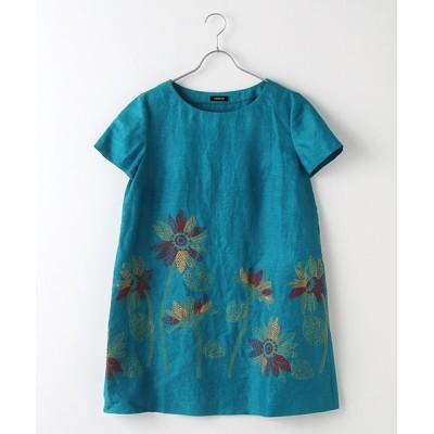 TABASA/タバサ ヴィンテージリネンヒマワリ刺繍チュニック ブルーグリーン S
