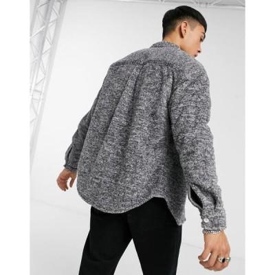 エイソス メンズ シャツ トップス ASOS DESIGN teddy 90s oversized shirt in gray marl Gray heather