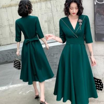 ウエストリボン 結婚式 パーティードレス 袖あり 大きいサイズ 3L ミモレ丈 ドレス 小さいサイズ ワンピースドレス 二次会 お呼ばれ