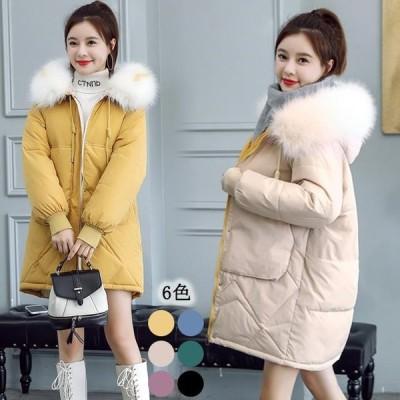 冬 中綿コート レディース ロング丈 コート ダウンジャケット 軽量 フード付き ダウンコート 暖かい 中綿入れ ジャケット 大きいサイズ 長袖 ファー襟 アウター