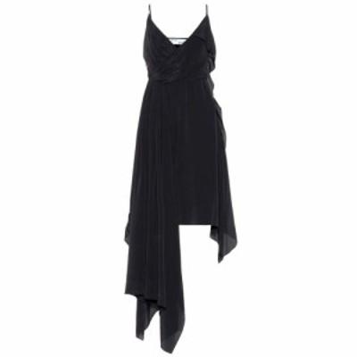 オフホワイト Off-White レディース ワンピース ワンピース・ドレス Asymmetric silk-blend dress Black White