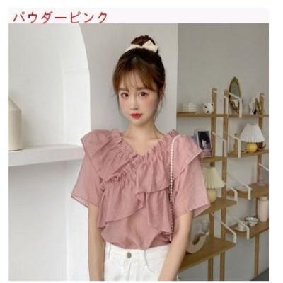 【送料無料】夏 韓国風 フリル 単語 肩 クロス 二枚のシャツ 何でも似合う デザイ | 364331_A62840-7724945
