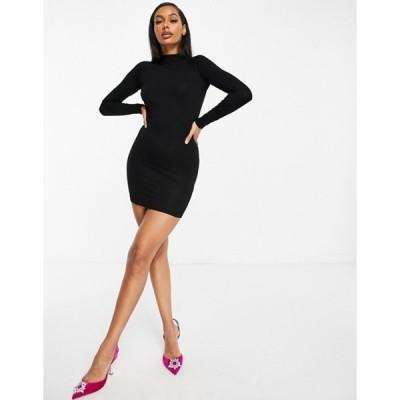 エイソス レディース ワンピース トップス ASOS DESIGN long sleeve sexy back mini dress in black