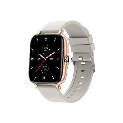 スマートウォッチ Bluetooth通話 1.7インチ大画面 着信通知 腕時計 活動量計 多種類運動モード 音楽再生 ストップウォッチ (GOLD)
