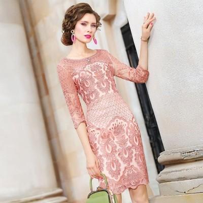 パーティドレス ♪セレブファッション タイトワンピー ス豪華な刺繍に視線集中 インパクトのある花柄刺繍がポイント 他と被らない 【送料無料】