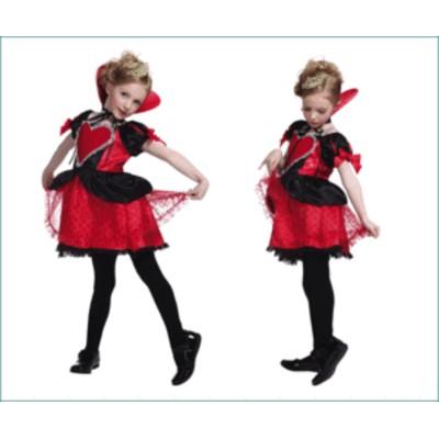【1 】ハートクイーンガール キッズ【アリス】 【Alice】【不思議の国のアリス】【仮装】【コスプレ】フロッキーチュールとレースがゴー
