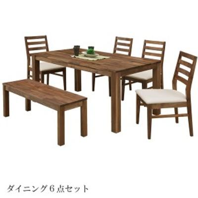 ダイニングテーブル 6点セット ダイニングセット 4人掛け ウォールナット PVCチェアー 木製 総無垢 4人用 ダイニングチェア ベンチ
