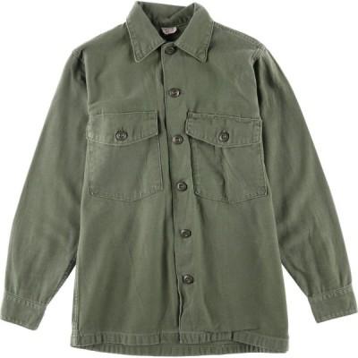 60s 米軍実品 ユーティリティシャツ USA製 メンズS /eaa023910
