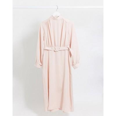 クローゼットロンドン レディース ワンピース トップス Closet London high neck belted midi dress in mink
