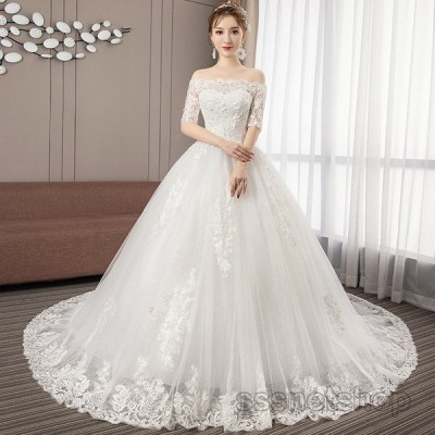 ウェディングドレス 結婚式 花嫁ドレス プリンセスドレス 白ドレス トレーンライン パーティードレス 演奏会 披露宴 ナイトドレス 2020新作【sssnetshop】