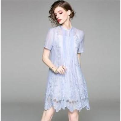 ドレス ワンピース ひざ丈 半袖 レース ピンク ブルー ネイビー アプリコット 30代 上品 エレガント きれいめ 春夏 結婚式 お呼ばれ a800