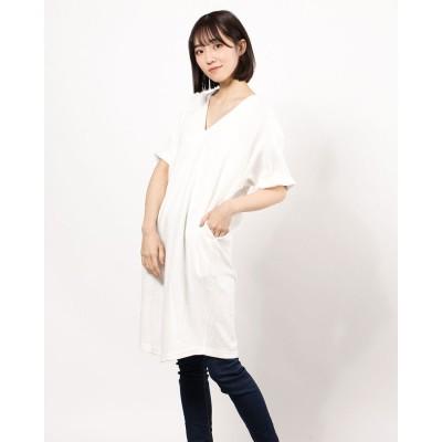 リネーム Rename 半袖Vネック膝丈ワンピース(シロ)