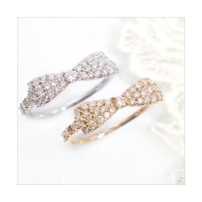 k18 リボン リング ダイヤモンド 0.5ct 指輪 K18 誕生石 パヴェ 18金 ゴールド PG WG 送料無料