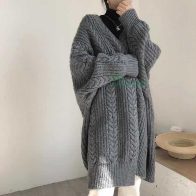 レディース アウター トップス ローゲージ ゆったり ケーブル編み 無地 秋冬 ロング丈 長袖 カーディガン 羽織コート ニット シンプル
