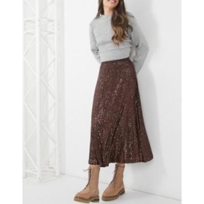 エイソス レディース スカート ボトムス ASOS DESIGN sequin midi jersey skirt in chocolate Brown