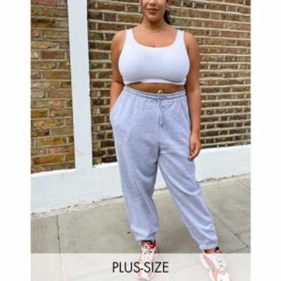ニュールック New Look Plus レディース ジョガーパンツ ボトムス・パンツ New Look Curve cuffed jogger in grey グレー