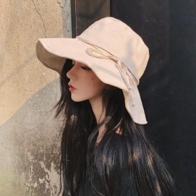 帽子 折りたたみ 折れ帽子 無地 つば広 レディース UVカット 紐あり 小顔効果 紫外線カット 大きいサイズ 春 夏
