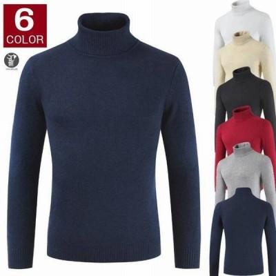 セーター ニットソー メンズ ハイネック タートルネック インナー 部屋着 トップス 長袖 防寒 あったか 無地 シンプル