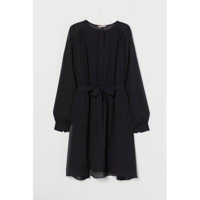 H&M - H&M+ シフォンワンピース - ブラック