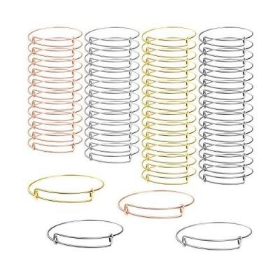 (新品) UPINS 100Pcs Expandable Bangle Bracelets Adjustable Blank Bracelets for Jewelry Making, 4 Colors