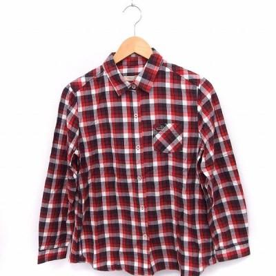 【中古】クロコダイル CROCODILE シャツ ブラウス チェック 刺繍ロゴ 長袖 綿 L レッド 赤 /FT43 レディース 【ベクトル 古着】