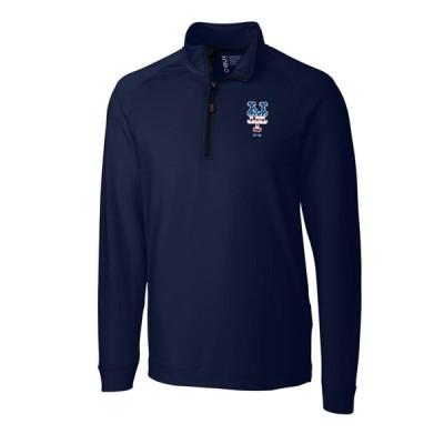 """メンズ ジャケット """"New York Mets"""" Cutter & Buck Stars & Stripes Jackson Half-Zip Overknit Pullover Jacket - Navy"""