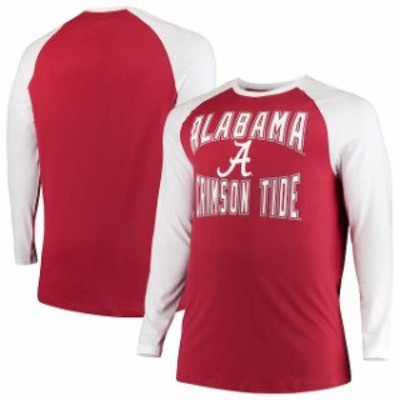 Colosseum コロセウム スポーツ用品  Colosseum Alabama Crimson Tide Crimson/White Big And Tall Cajun Long Sleeve Raglan T-Shirt