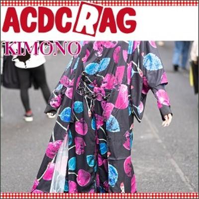 ACDC RAG エーシーディーシーラグ チェリー キモノ 浴衣 着物 羽織 パンク ロック 原宿系 チェリー 紫 黒