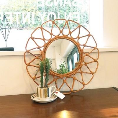 アイアン ウッド ナチュラル アンティーク風  ラタン 籐 鏡 インテリア 部屋 玄関 リビング ユグラ フラワーミラー _PP02