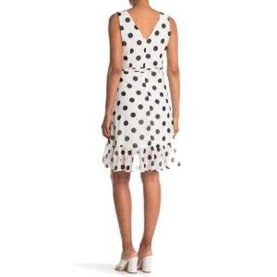 パピロン レディース ワンピース トップス Polka Dot Ruffle Waist Tie Dress WHITE