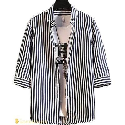 七分袖シャツ カジュアルシャツ メンズ ストライプ 春夏 ストリート ゆったり 男性用シャツ 快適 速乾吸汗 通気 韓国風 前開き 軽い