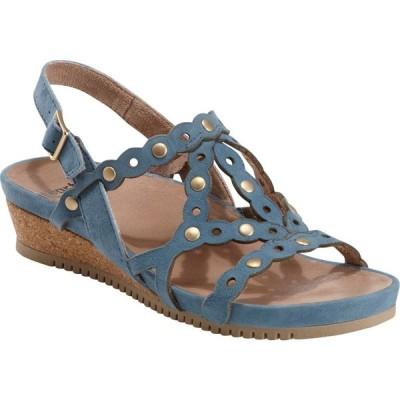 カルソーアースシューズ EARTH レディース サンダル・ミュール ウェッジソール シューズ・靴 Leo Slingback Wedge Sandal Sky Blue Leather