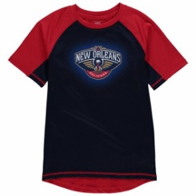 Outerstuff アウタースタッフ スポーツ用品  New Orleans Pelicans Youth Navy/Red Color Block Rash Guard T-Shirt
