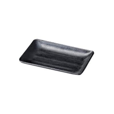 越前漆器 和食器 / (M)メラミンいぶし釉 黒 長角皿 20cm 寸法:20.2 x 13.7 x 2.4cm