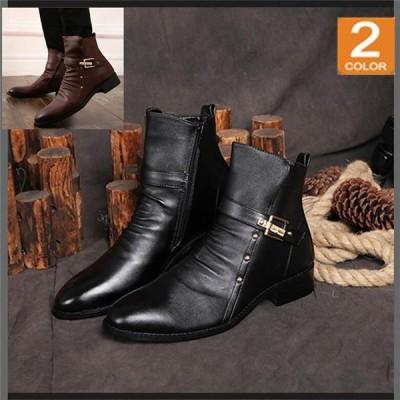 革靴 メンズブーツ エンジニアブーツ メンズ クロースベルト ブーツ メンズ