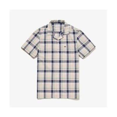 LACOSTE/ラコステ オープンネックチェックシャツ ピンクベージュ 39(日本サイズM)
