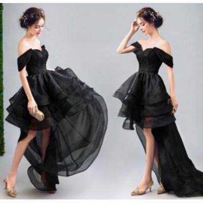 パーティードレス フォーマルドレス 着痩せ 結婚式ドレス 大人 上品 20代30代40代 ノースリーブ 不規則ワンピース チュールスカート