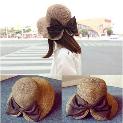 UVカット帽子レディース麦わら帽子折りたたみハットリボンストローハット春夏紫外線対策小顔効果女性用大きいサイズUV対策UV予防