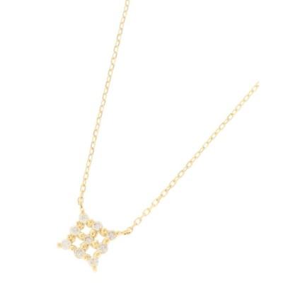 【ココシュニック】 K18ダイヤモンド 伏せ込みスクエア ネックレス レディース イエロー ゴールド 40 COCOSHNIK