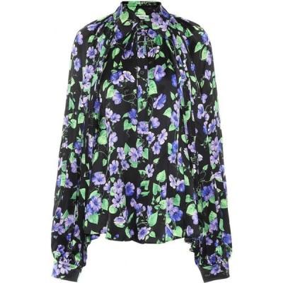バレンシアガ Balenciaga レディース ブラウス・シャツ トップス Floral Silk Shirt Black/Purple