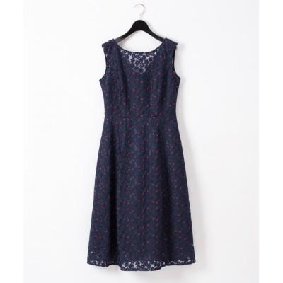 【グレースコンチネンタル】 フラワー配色刺繍ドレス レディース ネイビー 36 GRACE CONTINENTAL
