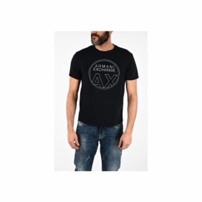 ARMANI EXCHANGE/アルマーニ エスチェンジ Blue メンズ ARMANI EXCHANGE Logo-Print T-shirt dk