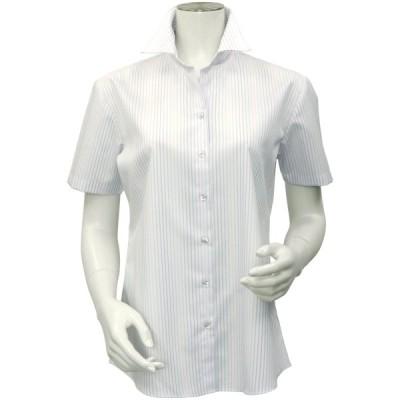 レディース ウィメンズシャツ 半袖 形態安定 スキッパー衿 オーガニックコットン100% 白×グレーストライプ